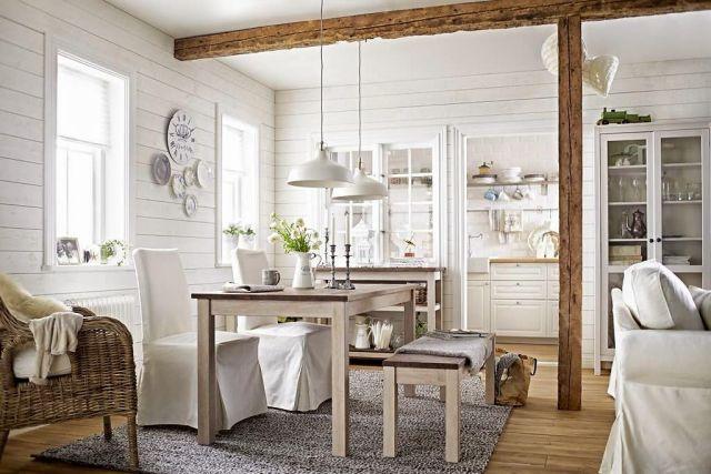 Svieža bielo-modrá kombinácia vo vidieckom interiéri 1